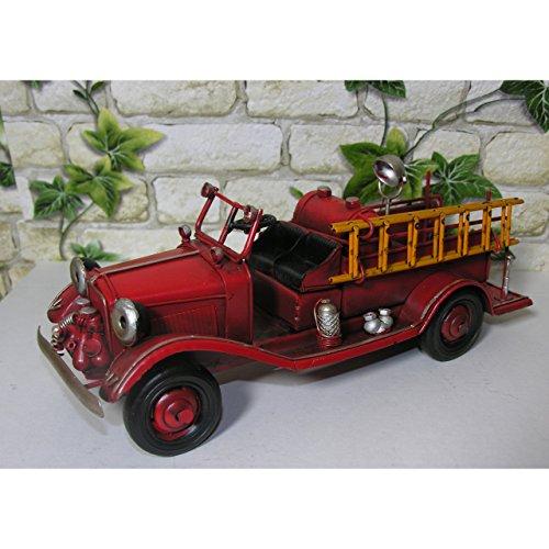 Modell Auto Feuerwehr Blech 25cm Oldtimer Feuerwehrauto Deko Fire Dept Retro Stil