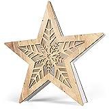 SnowEra LED Dekoleuchte in warmweiß   Holzstern mit Rahmen mit 10 LEDs   Weihnachtsbeleuchtung für innen   Stern große Schneeflocke   Weihnachtsdeko aus Holz FSC 100%