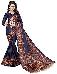 JENCY FASHION Kalamkari 3 Silk Saree With Blouse (NAVY)