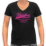 RACEFOXX V-Neck T-Shirt LADIES schwarz, Druck neon pink, Größe M