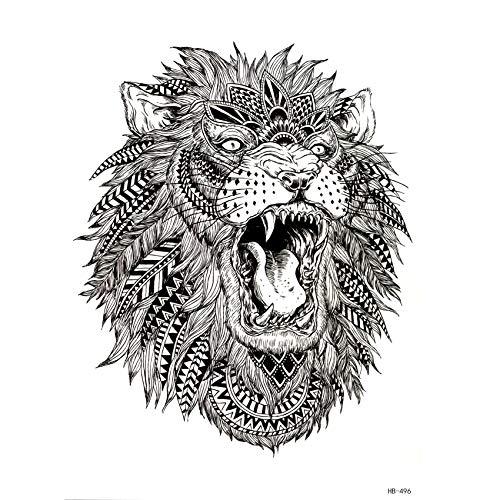 LBBMBC 3 Tiere Brüllen Löwe Tier Temporäre Tätowierung Temporäre wasserdichte temporäre Tätowierung Aufkleber