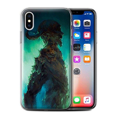 Offiziell Chris Cold Hülle / Gel TPU Case für Apple iPhone X/10 / Ghouls der Furcht Muster / Dämonisches Tier Kollektion Gehörnter Dämon