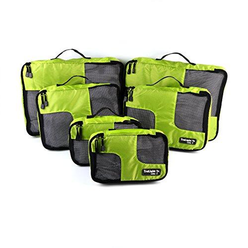 TraLight Packing Cubes | Packwürfel | Packtaschen | Kleidertaschen für Koffer, Reisetasche, Handgepäck, Rucksack, Sporttasche | 6 teiliges Set (Grün)