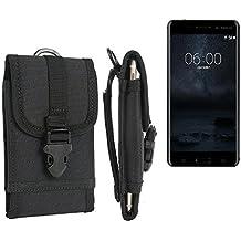 Per Nokia 6 Single SIM marsupio custodia cassa del telefono calotta di protezione Smartphone sacchetto holster cintura nero pianura semplice eleganza funzionale Protettiva verticale Cover Bag per Nokia 6 Single SIM nero - K-S-Trade(R)