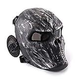 KINGEEOreille De Protection Du Crâne Pour Le Visage Intégral,Gris Argent, Masque...