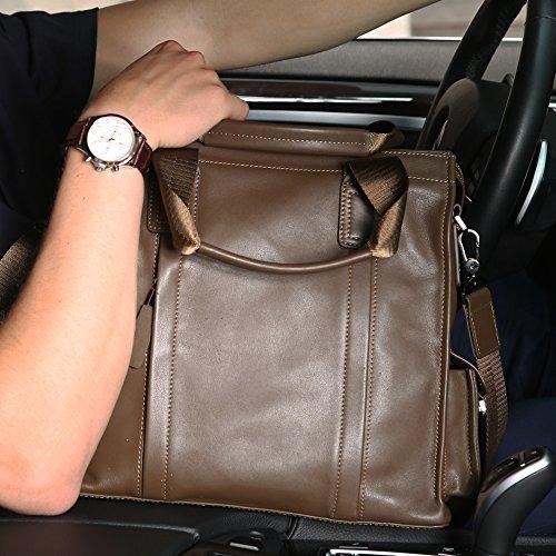 Oneworld Herren Rindleder Messenger Bag Aktentasche Schultertasche Notebooktasche Handtasche Umhängetasche Schultasche 29x30x11cm(BxHxT) Dunkel Blau Khaki