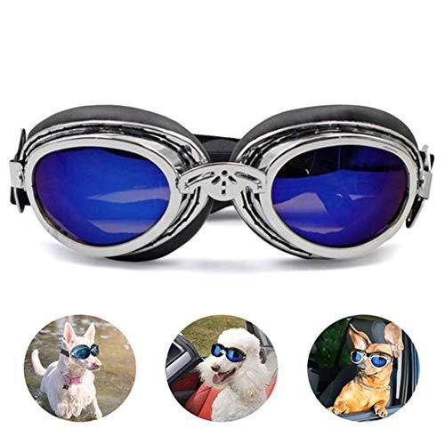 ZOOENIE Hund Sonnenbrille Haustier Goggle Schutzbrillen Uv-Schutz Wasserdicht Winddicht Faltbar Hunde Katzen Brillen, Hundebrille Augenschutz für Groß/Mittel Hund (Silber)