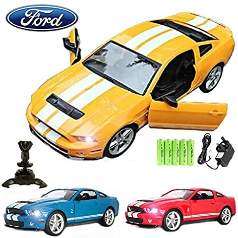 Comtechlogic® CM-2145 Official Licensed 1:14 Ford Mustang Shelby GT500 Radio Controlled RC Electric Rechargeable Car with Opening Doors - Ready to Run EP RTR - YELLOW