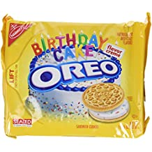 Nabisco, Oreo, Birthday Cake Creme, Golden Cookie, 15.25oz Bag (Pack of 4)