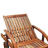 Gartenliege aus Akazienholz klappbar, Rollen und verstellbar mit Tisch von Deuba - 4