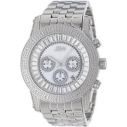 "Just Bling Herren JB-6219-A ""Python Sliver"" Stainless Steel Chronograph Diamond Watch"