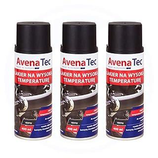 Avena Color 3 x Hochtemperaturlack Schwarz 400 ml Auto KFZ Seidenglänzend