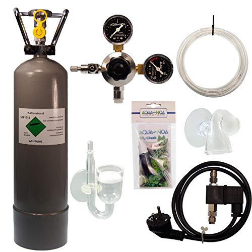 Guemmer products CO2 Anlage Komplett-Set für Aquarien mit 2kg Mehrwegflasche, gefüllt, NEU, inklusive Druckminderer, Nachtabschaltung mit Rückschlagventil, Diffusor und Co2 Dauertest (Ultimate, 2Kg) -