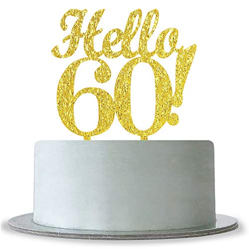 WeBenison Gold Hello 60 Cake Topper, Happy 60. Geburtstag/Hochzeitstag/Ruhestand Party Dekoration