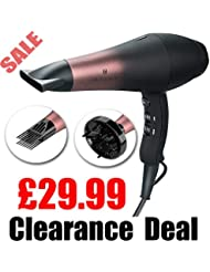 Wazor 1800W Professional Ionic Hair Dryer Far Infrared Dryer Powerful Salon AC Motor Hairdryers with Diffuser,Nozzle and Comb UK Plug