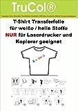 10 Blatt DIN A4 T-Shirt Transfer-Folie Transferpapier für helle Textilien NUR für LASERDRUCKER und Kopierer.