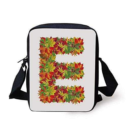 Letter E,Chestnut Maple Leaves Natural Oak Petals Vibrant Colors E Symbol Print,Vermilion Yellow Green Print Kids Crossbody Messenger Bag Purse -