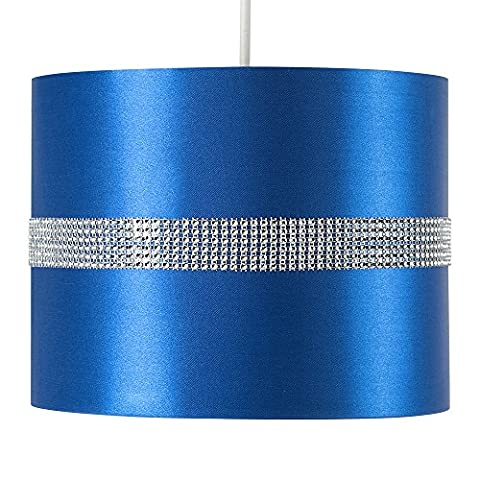 Modern Decorative Blue and Silver Diamante Jewel Effect Polycotton Rolla Cylinder Ceiling Pendant Drum Light Shade