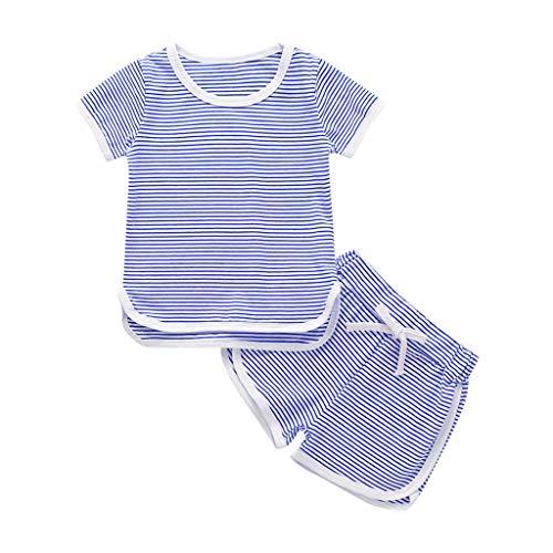 LSAltd Kleinkind Kinder Baby Mädchen Jungen Sommer Beiläufige Gestreifte Kurzarm Tops + Shorts Weicher Baumwolle Pyjama Outfit Set