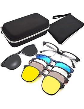 GreeSuit Gafas de sol con lentes 6 en 1 anteojos de metal con montura con clip antideslumbrante magnético lentes...