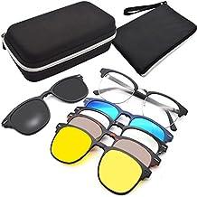 GreeSuit Gafas de sol con lentes 6 en 1 anteojos de metal con montura con clip