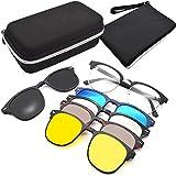 GreeSuit Gafas de sol con lentes 6 en 1 anteojos de metal con montura con clip antideslumbrante magnético lentes de conducción gafas de sol gafas ópticas
