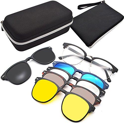 GreeSuit Clip On Occhiali da Sole Lenti Clip On Magnetiche Occhiali da vista con montatura in metallo 6 in 1 e occhiali ottici da guida con lenti antiriflesso a clip