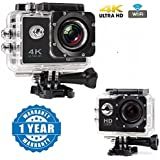 Drumstone Wi-Fi 4K Waterproof Sports Action Camera - 4K Ultra HD, 16MP,2 Inch LCD Display, HDMI Out, 170 Degree Wide Angle With HD 1080p 12MP Waterproof Action Camera Compatible With Xiaomi, Lenovo, Apple, Samsung, Sony, Oppo, Gionee, Vivo Smartphones (On