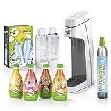Soda Trend 06732 Trinkwassersprudler Starter-Set | 1 x Wassersprudler | 1 x CO2-Zylinder 60l | 2 x PET-Flaschen | 4 x Sirup (verschiedene Sorten)