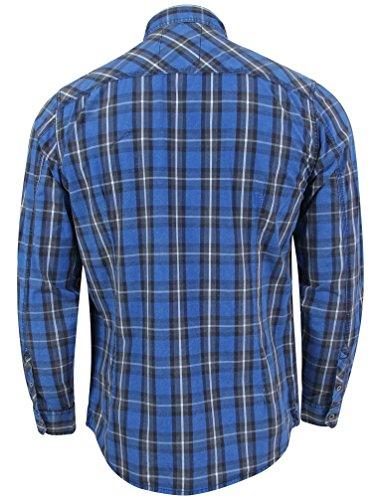 Tokyo Laundry Herren Cassidy Langarm Knopf Kollabiert Hemd Größe S-XL Ocean Blue
