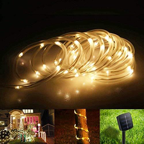 100 LED Solar Schlauch Lichterkette, ELINKUME 7M/23ft Wasserdicht Außenlichterkette Röhrenlicht Seil Kupferdraht Weihnachtsbeleuchtung Lichter für Hochzeit Garden Party (Warmweiß)