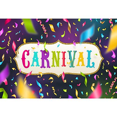 OERJU 1,5x1m Karneval Maske Hintergrund Fallendes helles Farbband Bunter Karneval Goldener Rand Rahmen Hintergrund Karnevalsparty Kinder Erwachsene Wand Dekoration Banner Porträts Fotografie