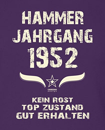 Geburtstagsgeschenk T-Shirt Männer Geschenk zum 65. Geburtstag Hammer Jahrgang 1952 - Herrenshirt - Geschenkidee Farbe: lila Lila