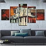 Sbzjj Modulare Dekorative Raumwandbild Wulian Malerei Instrument Gitarre Und Klaviertasten Bild Leinwand Hd-Druck Kunst Leinwand Malerei (Mit Rahmen)