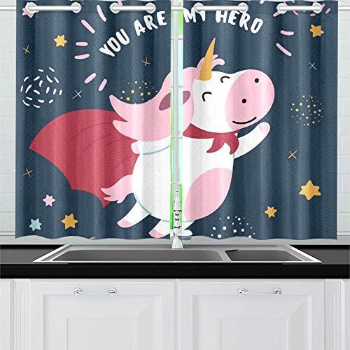 Rosa Kostüm Superheld - WDDHOME Rosa weiße süße Kuh Superheld Kostüm Küche Vorhänge Fenster Vorhang Ebenen für Café, Bad, Wäscherei, Wohnzimmer Schlafzimmer 26 X 39 Zoll 2 Stück