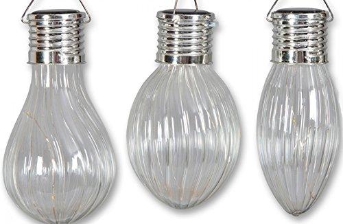 3 er Set LED Solar Anhänger Glühbirne aus Glas Lampe Laterne - Glühbirne Aus Glas Anhänger