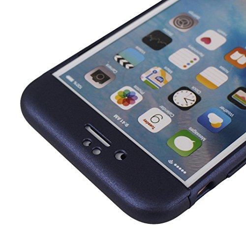 Handyhülle iPhone 6 Hardcase, Handyhülle iPhone 6S Hardcase, iPhone 6S 3 in 1 Hülle, iPhone 6 3 in 1 Hülle, Moon mood® 3 in 1 Anti-Fingerprint Kratzfeste Kunststoff Harte Rückseite Case Bumper Schutzh T Blau