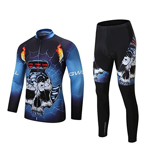 Gwell Homme Maillots de Cyclisme Vélo VTT Squelette Vêtements Veste Manches Longues Pantalons Séchage Respirant Hiver