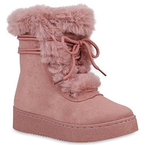 Damen Schuhe Stiefeletten Winter Boots Warm Gefütterte Stiefel Kunstfell 153279 Rosa Carlet 37 Flandell