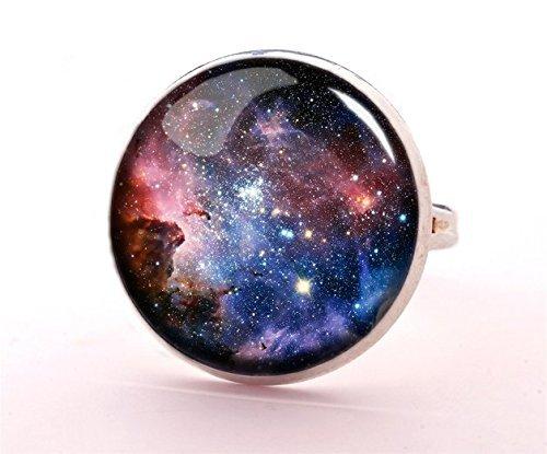 alaxy Schmuck, Platz Ring, Cosmos, Glas Cabochon Ring, verstellbar, ()