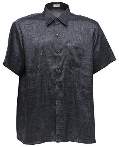 Herrenhemd Kurzarm Jacquard Thai Seide (Schwarz, S) - Shirts Herren Seide Kurzarm