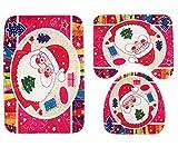 Gnzoe Flanell 3 Pcs Toilettenmatte/Teppich-Set Santa Claus Muster Design Teppiche Set für Toilette Küche Rot 75x45CM