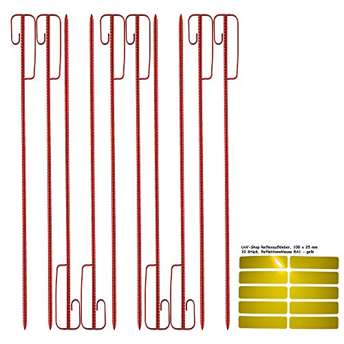 Absperrhalter Absperrleinenhalter Stahl, Set mit 10 Stück - für Fangzaun, Flatterband, Warnband Test