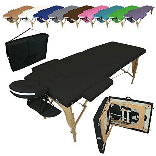 Vivezen  Table de massage pliante 2 zones en bois avec panneau Reiki + Accessoires et housse de transport - 10 coloris - Norme CE
