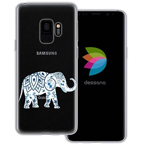 dessana Elefanten Abstrakt transparente Silikon TPU Schutzhülle 0,7mm dünne Handy Tasche Soft Case für Samsung Galaxy S9 Elefant Paisley Muster