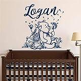 Stickers Muraux Winnie L'Ourson Personnalisé Nom De Garçon Art Pour La Décoration De La Chambre Des Enfants Pépinière Chambre Décor
