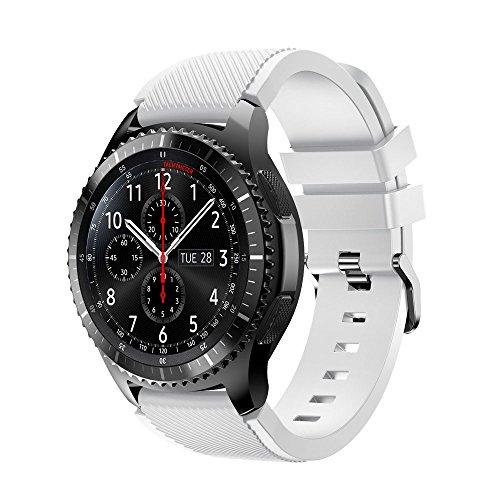 iHee Bracelet de rechange souple en silicone pour montre Samsung Gear S3 Frontier M blanc