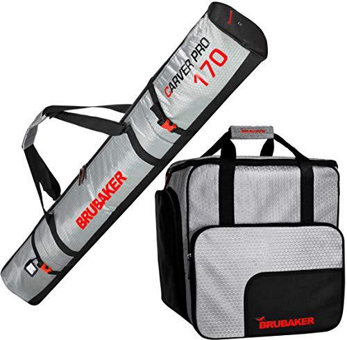 Brubaker Kombi Set CarverTec Pro - Skisack und Skischuhtasche für 1 Paar Ski + Stöcke + Schuhe + Helm - Silber Rot - 170 cm