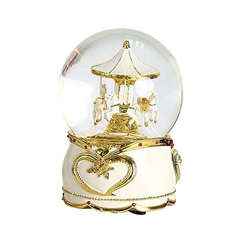 non Rock Carrousel Cheval de Noël Boule de cristal Boîte à musique de luxe Petit Changement de couleur lumineux rotatif