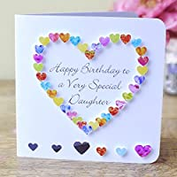 Happy Birthday to a Very Special Daughter Card - Rainbow Love Hearts - Gift for Her